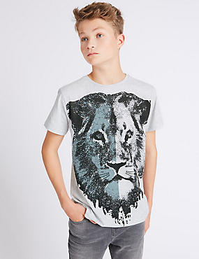 Cotton Rich Lion T-Shirt (3-14 Years)