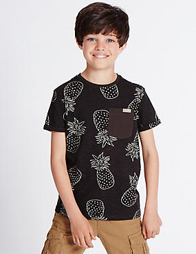 Pure Cotton Pineapple Print Top (3-14 Years)