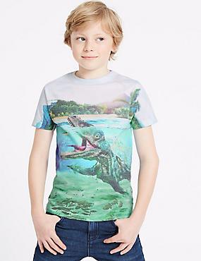 Water Saurus Print T-Shirt (3-16 Years), MULTI, catlanding