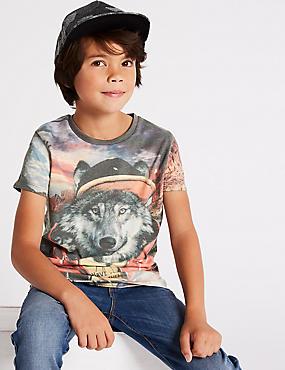 Cotton Rich Graphic T- Shirt (3-16 Years), GREEN MIX, catlanding