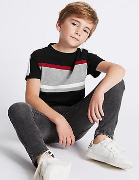 Pure Cotton Panel T-Shirt (3-14 Years)