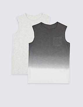 2 Pack Vest Tops (3-16 Years), MULTI, catlanding