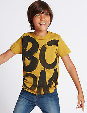 Pure Cotton Boom Print T-Shirt (3-14 Years)