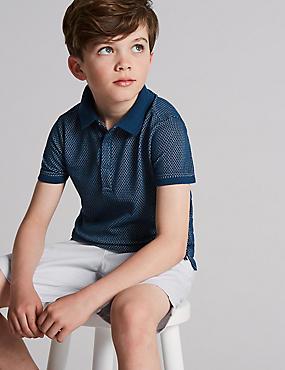 Cotton Rich Polo Shirt (3-16 Years), NAVY, catlanding