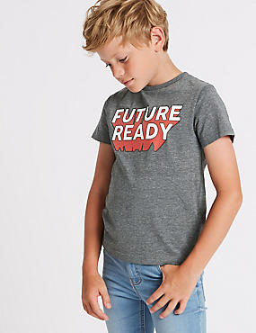 Future Ready T-Shirt (3-16 Years), GREY MARL, catlanding