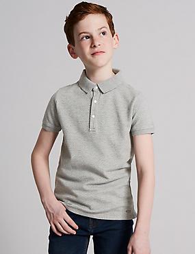 Cotton Rich Polo Shirt (3-16 Years), LIGHT GREY MIX, catlanding