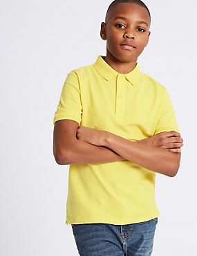 Pure Cotton Polo Shirt (3-16 Years), YELLOW, catlanding