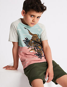 Cotton Rich Tiger Print T-Shirt (3-16 Years)