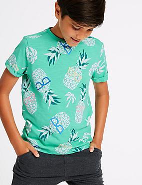 Pure Cotton T-Shirt (3-16 Years), SEA GREEN, catlanding