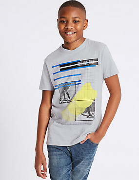 Pure Cotton Printed T-Shirt (3-16 Years), SILVER GREY, catlanding