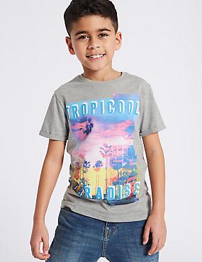 Cotton Rich Short Sleeve T-Shirt (3-16 Years), GREY MIX, catlanding