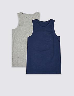 2 Pack Vest Tops (3-16 Years), NAVY MIX, catlanding