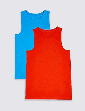 2 Pack Pure Cotton Vest Tops (3-16 Years), ORANGE MIX, catlanding