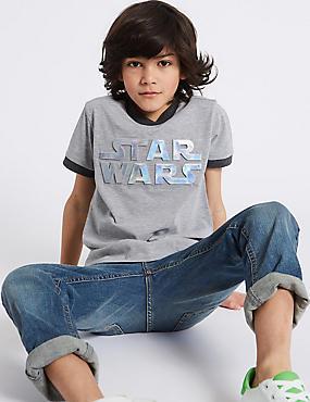 Cotton Rich Star Wars™ T-Shirt (3-14 Years), DARK GREY MIX, catlanding