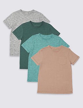 4 Pack Cotton Rich Tops (3-16 Years)