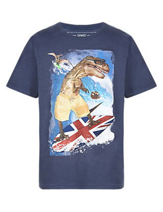Pure Cotton Dinosaur Surfing T-Shirt Clothing