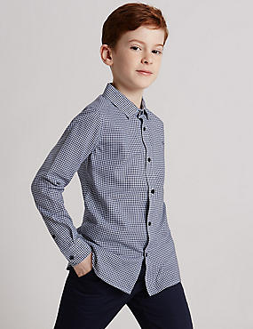 Pure Cotton Dogtooth Shirt (3-14 Years)