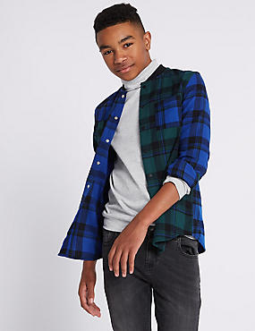 Pure Cotton Checked Shirt (3-16 Years), GREEN MIX, catlanding