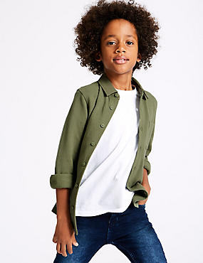 Pure Cotton Shirt (3-16 Years), KHAKI, catlanding