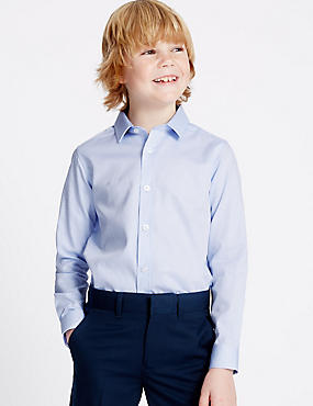 Pure Cotton Textured Shirt (3-14 Years), BLUE MIX, catlanding