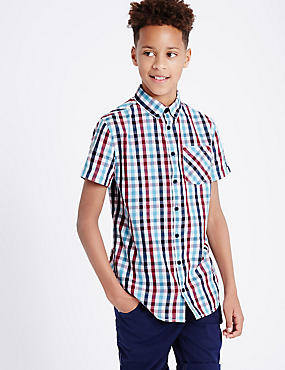 Pure Cotton Gingham Shirt (3-14 Years)