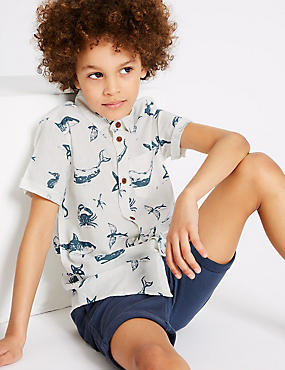 Linen Rich Printed Shirt (3-16 Years)