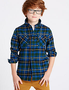 Pure Cotton Checked Shirt (3-16 Years), BLUE MIX, catlanding