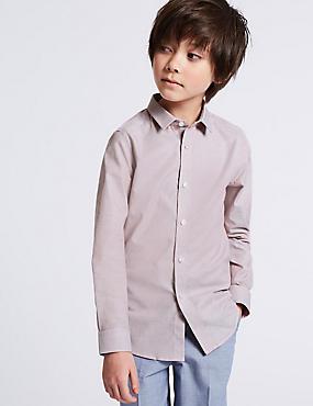 Pure Cotton Textured Shirt (3-16 Years), PINK, catlanding