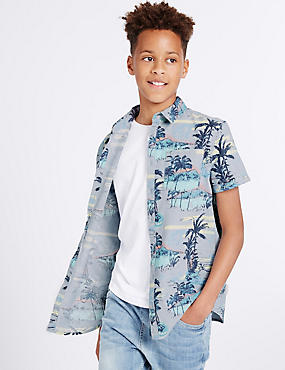 Pure Cotton All Over Print Shirt (3-14 Years)
