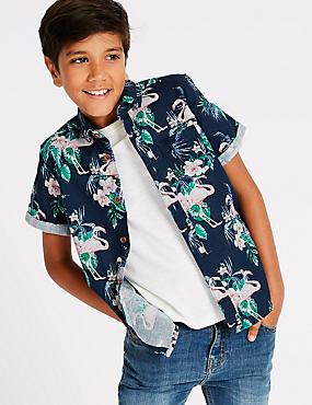Linen Rich Flamingo Print Shirt (3-16 Years), MULTI, catlanding