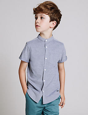 Cotton Rich Grandad Collar Shirt (3-14 Years)