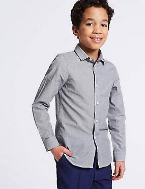 Pure Cotton Textured Shirt (3-16 Years), GREY MIX, catlanding