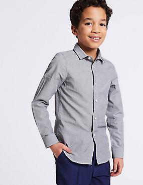 Pure Cotton Textured Shirt (3-16 Years), GREY MIX, catlanding