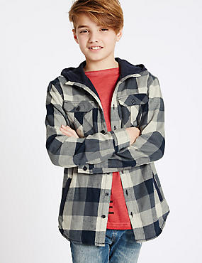 Pure Cotton Hooded Shirt (3-14 Years)
