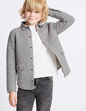 Cotton Rich Quilted Shacket Shirt (3-14 Years)