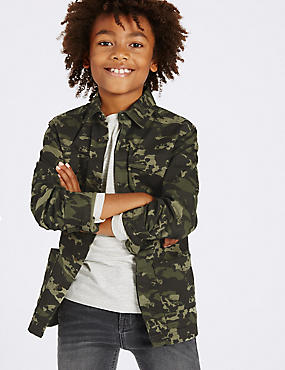 Cotton Rich Camouflage Print Shirt (3-14 Years)