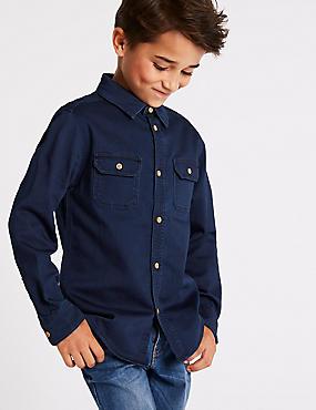 Cotton Rich Denim Shirt (3-16 Years), NAVY MIX, catlanding