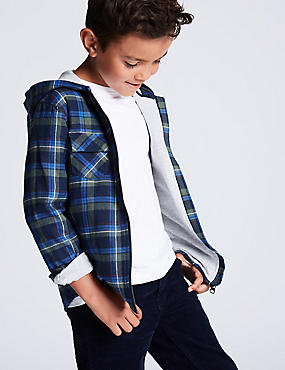 Pure Cotton Checked Hooded Shirt (3-16 Years), NAVY MIX, catlanding