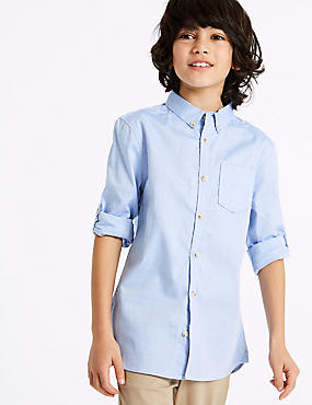 Pure Cotton Oxford Shirt (3-16 Years), BLUE, catlanding