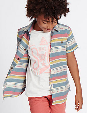 Pure Cotton Striped Shirt (3-14 Years)