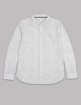 Pure Cotton Grid Grandad Shirt (3-16 Years)