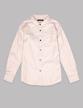 Pure Cotton Textured Shirt (3-16 Years), PINK, catlanding