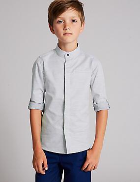 Pure Cotton Textured Shirt (3-16 Years), LIGHT GREY MIX, catlanding