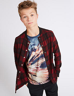 Pure Cotton Checked Shirt (3-14 Years), RED MIX, catlanding