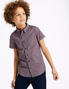 Pure Cotton Jacquard Print Shirt (3-16 Years)