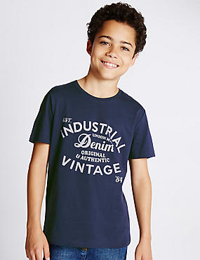 Pure Cotton Assorted Slogan T-Shirt (5-14 Years)