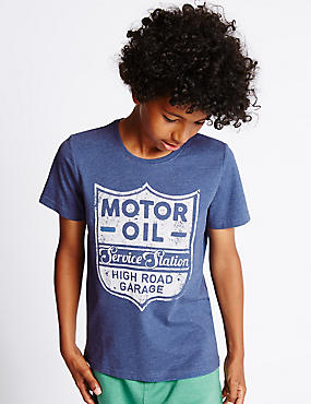 Motor Oil Slogan T-Shirt (5-14 Years)