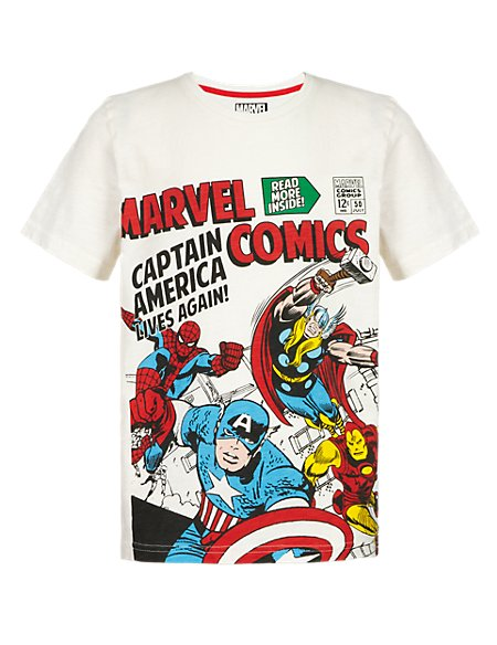 Pure Cotton Marvel Comic Characters T-Shirt with Stickers (5-14 Years)
