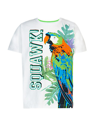 Pure Cotton Parrot Print Colour Changing T-Shirt Clothing