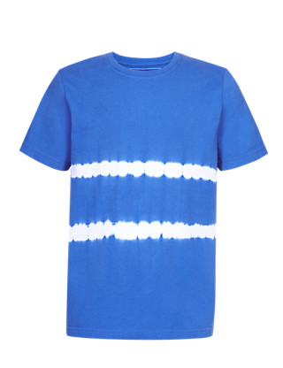 Pure Cotton Tie Dye Striped T-Shirt Clothing
